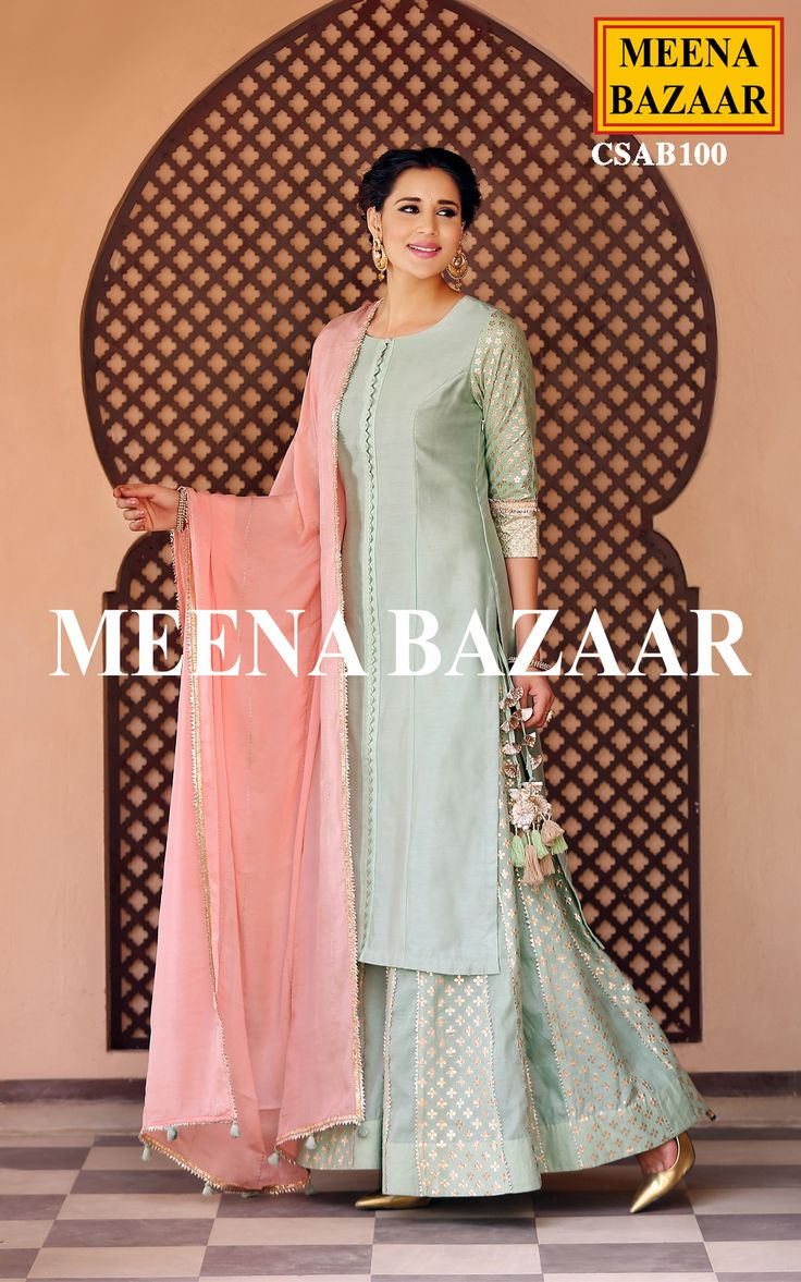Get a everlasting look with this Pista green chanderi salwar suit. Featuring delicate work on slevees, this attire is perfect for any special occasion. Comes with matching dupatta and sharara bottom.