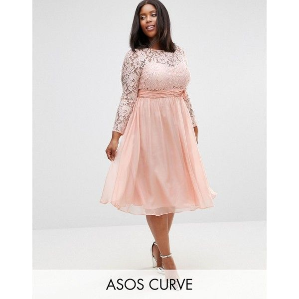 ASOS CURVE WEDDING Midi Dress With Lace And Bow Detail ($61) ❤ liked on Polyvore featuring dresses, pink, plus size, midi dress, plus size midi dresses, empire waist dresses, plus size empire waist dress and plus size lace cami