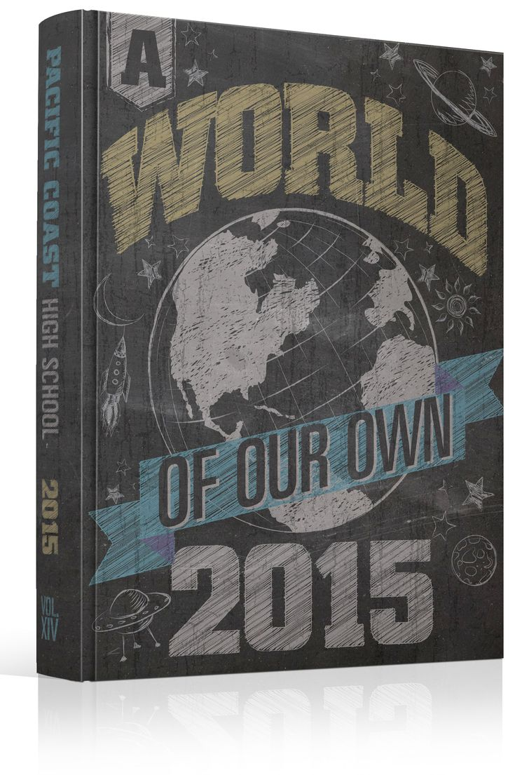 "Yearbook Cover - Pacific Coast High School - ""A World of our Own"" - Draw, Drawing, Doodle, Doodles, Sketch, Chalk, Chalkboard                                                                                                                                                                                 More"