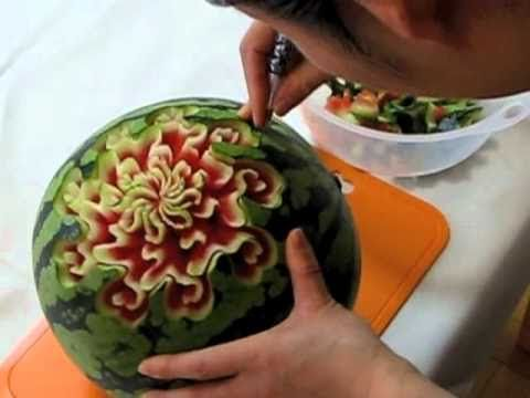 Ellen DeGeneres Birthday Special Watermelon Rose - By Mutita Art Of Fruit And Vegetable Carving - YouTube