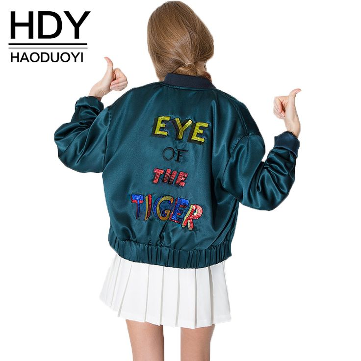 HDY Haoduoyi 2016 Autumn Fashion Women Letter Print Bomber Jackets Tultleneck  Long Sleeve Elastic Single Breasted Coat