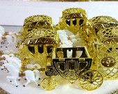 12 NEW Gold Horse & Carriage Party Favors / Wedding Favors or Bridal Shower Favors / Prince and Princess Theme and Party Decorations