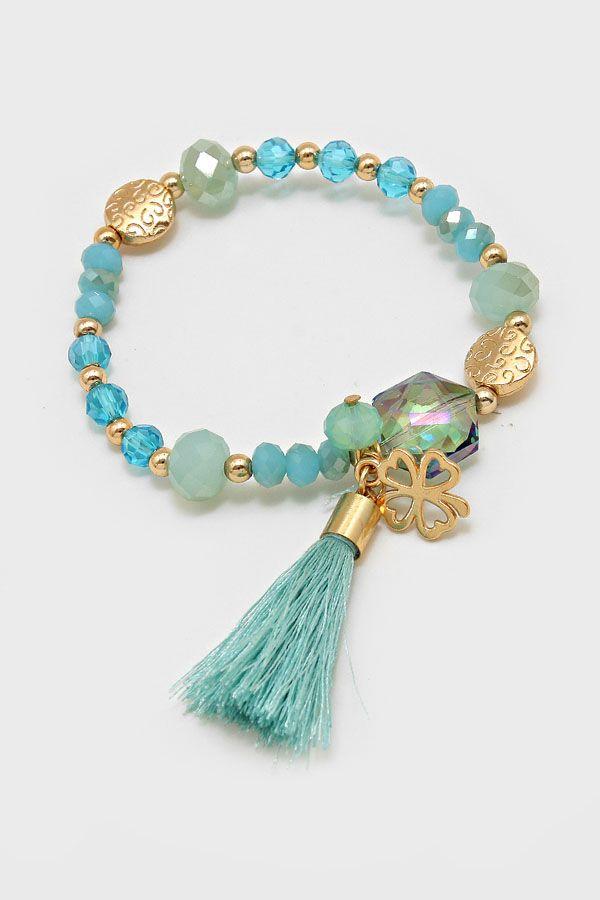 Crystal Lucky Bracelet in Aspen Mint
