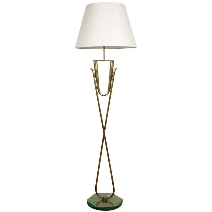 Gilt Brass And Glass Floor Lamp, Italy, 1960u0027s