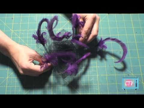 How-to Make a Fascinator, Curling Feathers, CRAFTOVISION. Good feather curling technique,  one comment suggests wetting feathers before cutting.