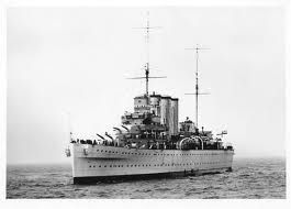 Despite their dated appearance the County class cruisers gave excellent service in WW2.  This is HMS Suffolk, which was closely involved in the famous Bismarck episode in 1941.
