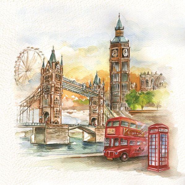 Открытка в лондонском стиле