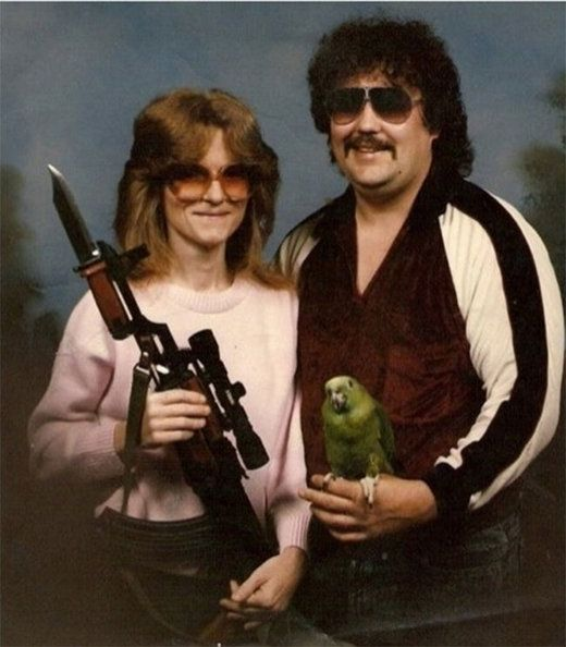 A parrot, a knife-gun, and a mullet....now that's what I'm talkin' about!