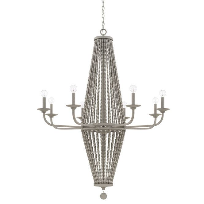 The Classic Beaded Chandelier Takes On A Shabby Chic With A Coastal Twist Wooden Beads Paired With The Paris Grey Finish Evoke A Rustic Weathered Aest Avizeler