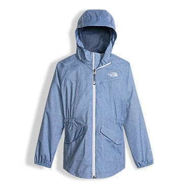 The North Face Girls' Sophie Rain Parka Coat: Kids size L  (something like this--to cover her bum)  Blue, pink, navy