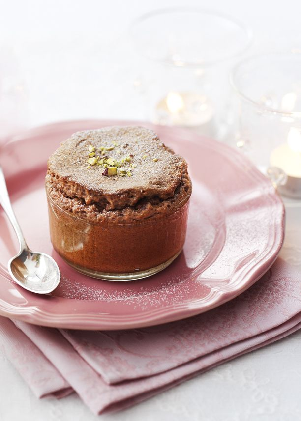 James Martin's individual chocolate and pistachio soufflés are simple to make and always rise to the occasion.