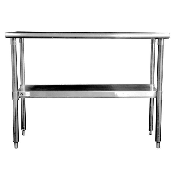 Need more prep space in your small kitchen? A stainless steel island is the perfect option. This one is long and narrow, just 24 inches deep!