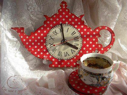 """Набор для кухни """"Платьице в горошек"""" - часы настенные,часы для кухни,часы интерьерные"""
