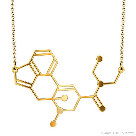 LSD Molecule Necklace - Gold