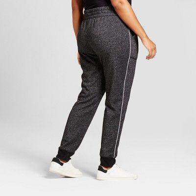 Women's Plus Size Leisure Jogger - Ava & Viv Black With Shine 3X