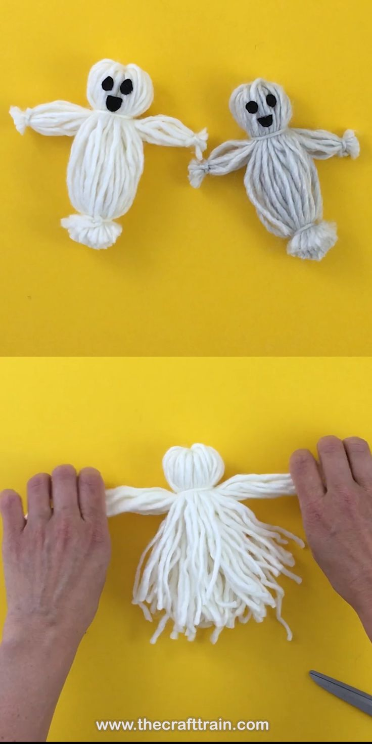 Create a yarn doll that looks like a ghost! This is a fun twist on the traditional yarn doll which kids love, making a perfect halloween craft idea and DIY toy or decoration for the season #yarndoll #ghost #ghostcraft #kidscraft #creativefun #yarn #halloween #halloweencrafts #kidsactivities #thecrafttrain