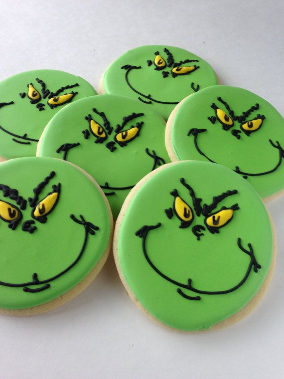 This collection includes 1 dozen (12) large Grinch sugar cookies. These cookies are 4 1/2 inches in diameter. We make our sugar cookies from scratch