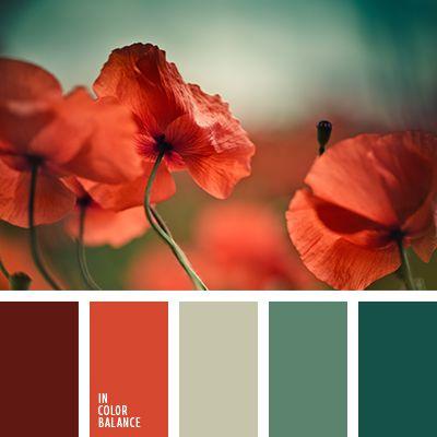 burdeos, color de los tallos, color esmeralda, color rojo, color rojo amapola, color rojo carmesí, color tallo verde, color verde amarillento, color verde hierba, combinación contrastante, elección de colores para el interior, esmeralda y rojo, rojo apagado, rojo ladrillo, rojo oscuro, rojo y