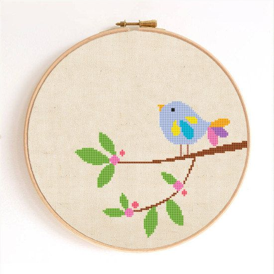 A Cute Bird on Branch Counted Cross Stitch Pattern Instant