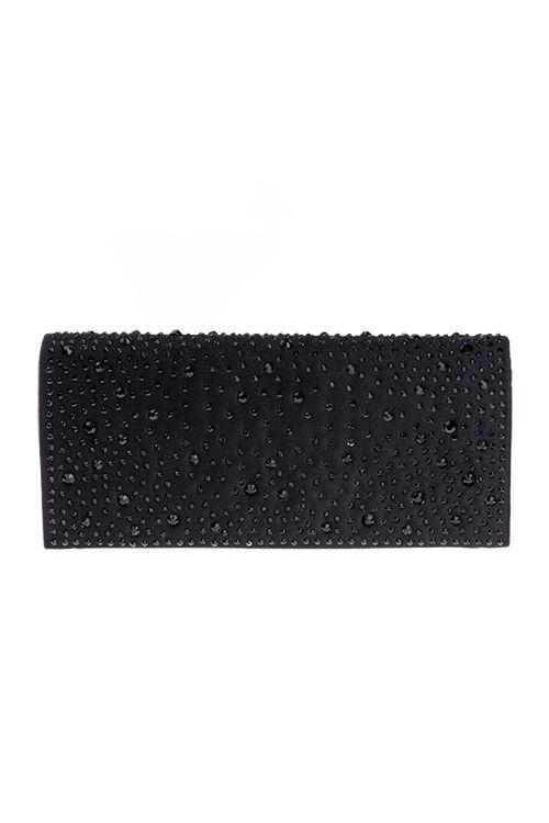 Zwart avondtasje bedekt met een satijnachtige stof.Op deze stof zitten zwarte strass steentjesHet tasje is ook te gebruiken als schoudertasje. Afmetingen van het avondtasje (LxH): 19,5cm x 8cmProductsamenstelling100% polyester €16,95