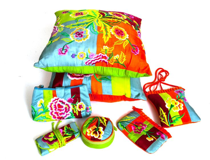 Gorgeous embroidered cushion covers and bags from Asia.