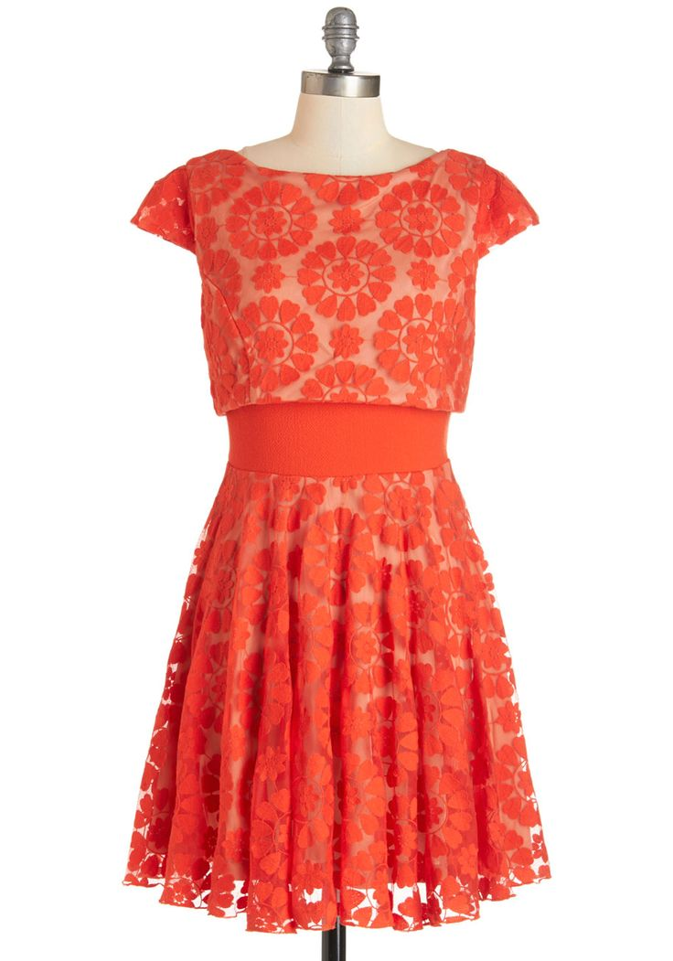 Eva Franco Love Will Find a Sway Dress. If your heart is longing for sweet style, you're sure find everything you've been looking for in this red fit and flare by Eva Franco! #red #modcloth
