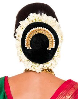 example of traditional Maharashtrian region style of Wedding Bridal Jewelry ~ pure gold and pearl Ambada Pin -hair ornament from India.