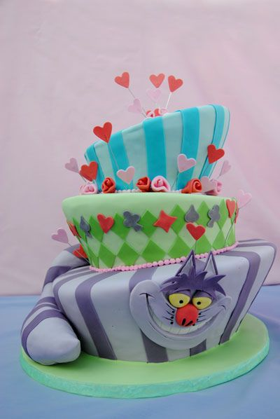 An Alice in Wonderland theme mad hatter shaped birthday cake with the cheshire cat  for a 15 year old.