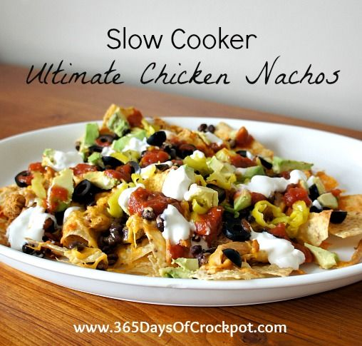 Recipe for Slow Cooker Ultimate Chicken Nachos...um, these were gone in like 2 seconds. so yummy!