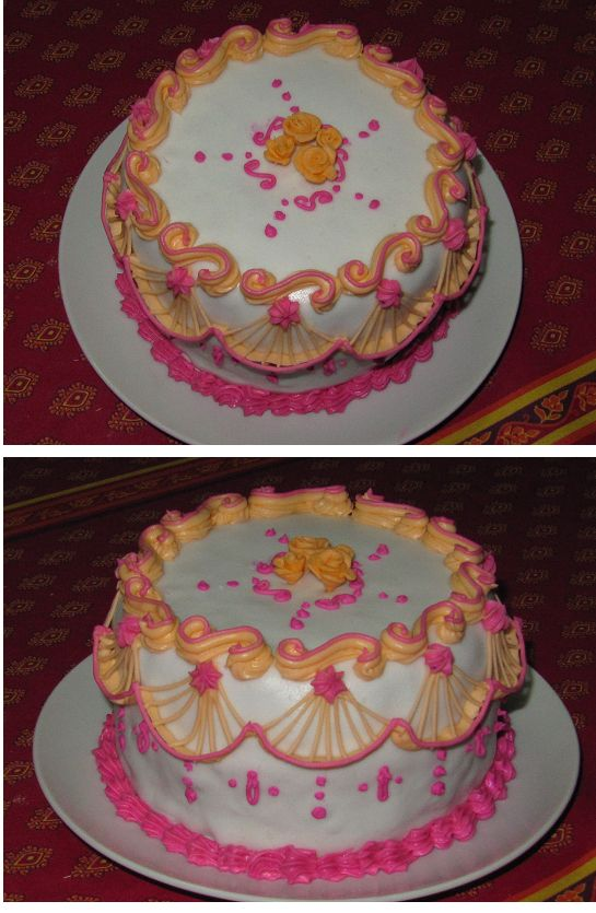 My second Lambeth style cake. Yogurt cake filled with Chocolate ganasce and covered with fondant and decorated with R.I.