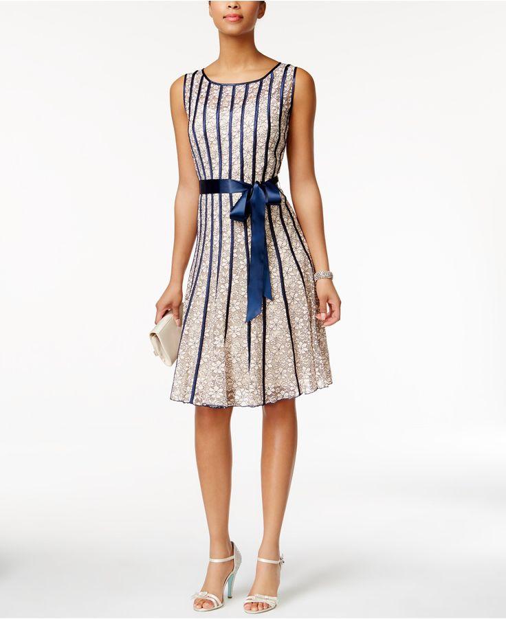 SL Fashions Sleeveless Belted A-Line Dress - Dresses - Women - Macy's