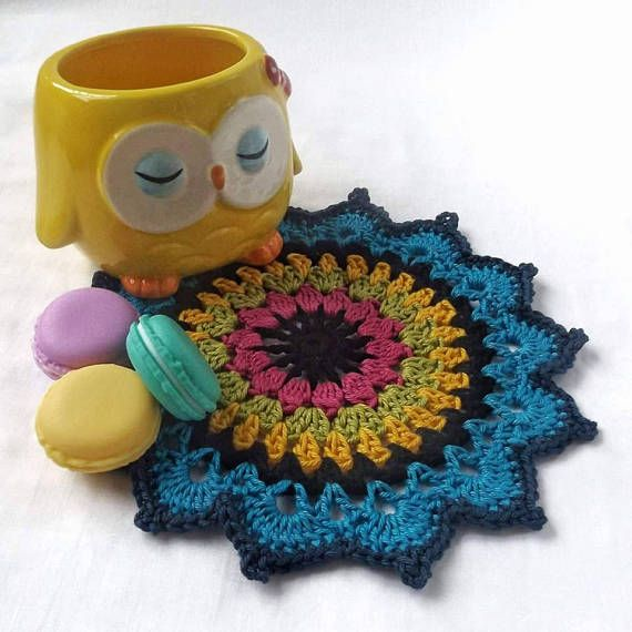 This pretty crochet mandala is perfect to add to your tea party table. A lovely home decor item.  Crochet Mandala Crochet Doily Mandala Doily Crochet Table