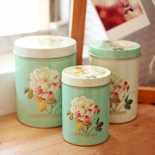 Cookie Tin - Metal Storage Canister - Flower Shop Large