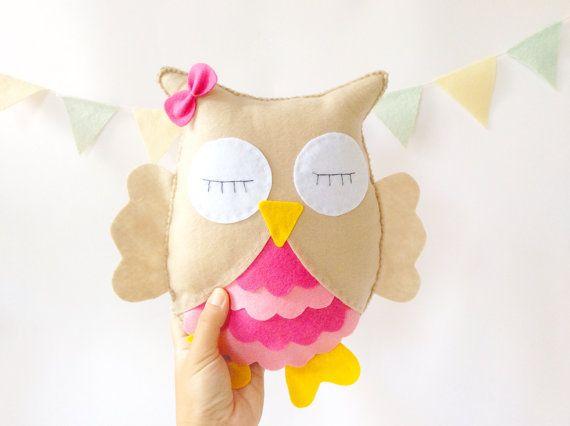 Pink Owl, Stuffed Toy, Felt owl, Nursery room, nursery decor, baby gift, baby shower gift, Owl nursery room by LaPetiteMelina