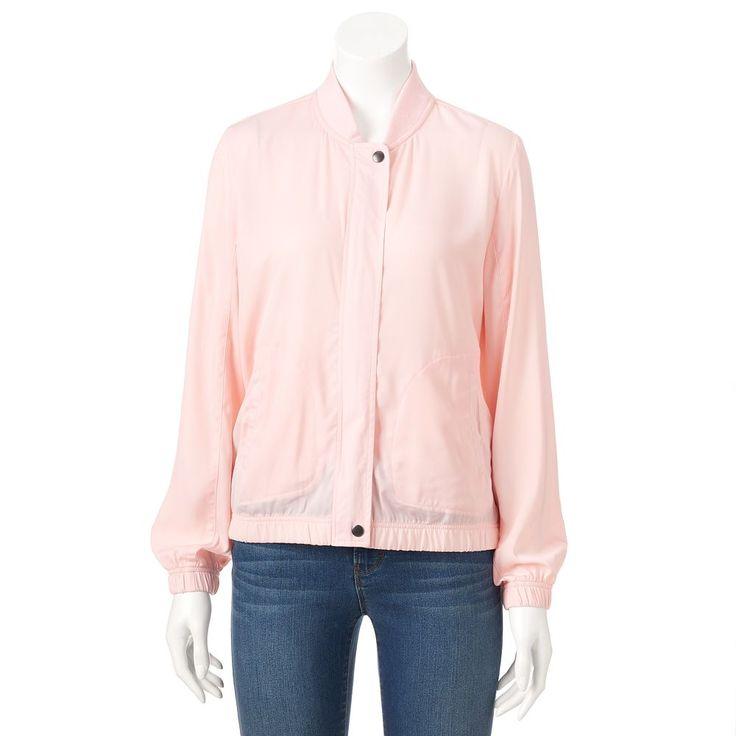 Women's Juicy Couture Pink Satin Bomber Jacket, Size: Medium