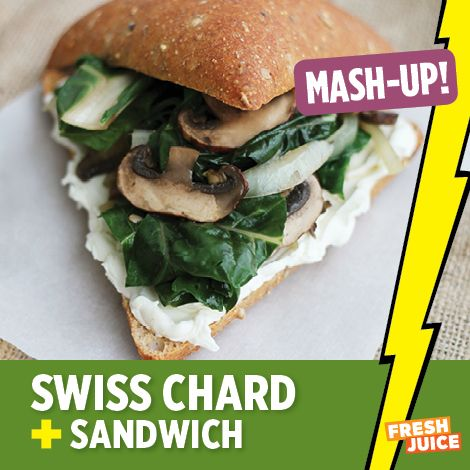 Swiss chard sautéed with onions and garlic and put on multi grain ...