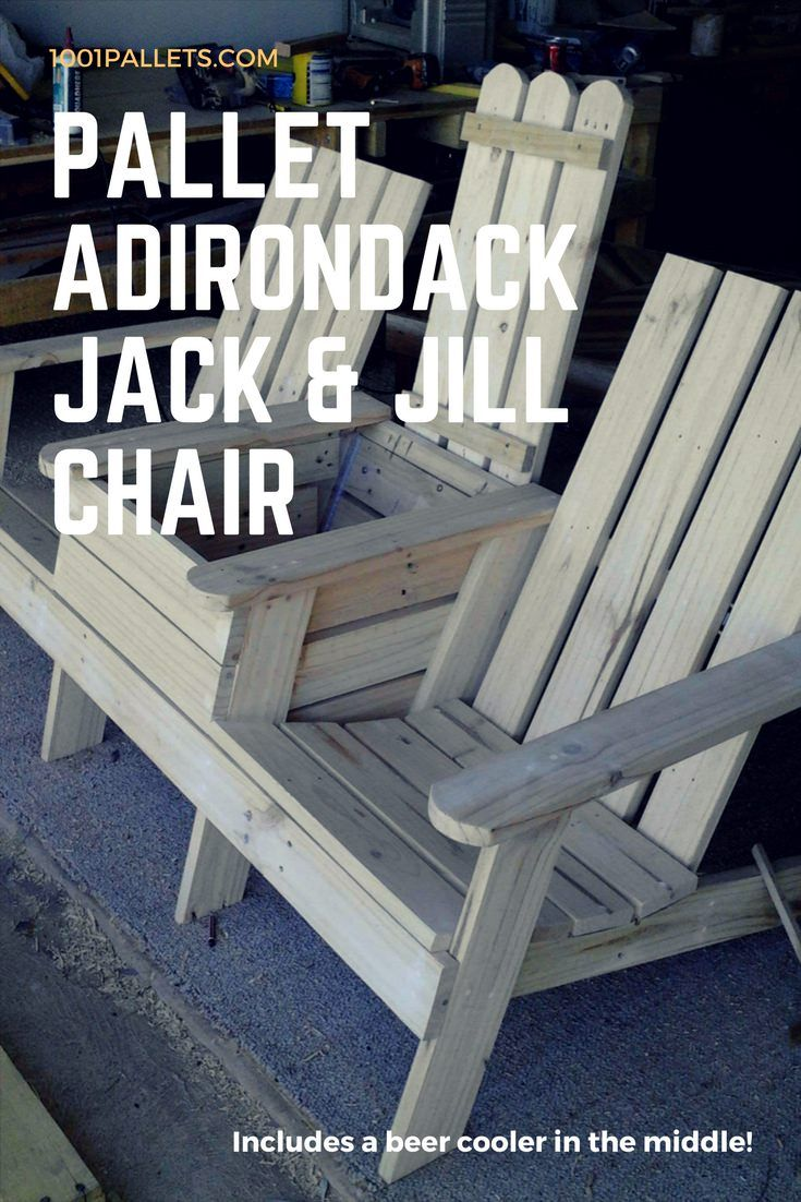 Adirondack Jack & Jill Chair with beer cooler included in the middle. All made from repurposed pallet boards!