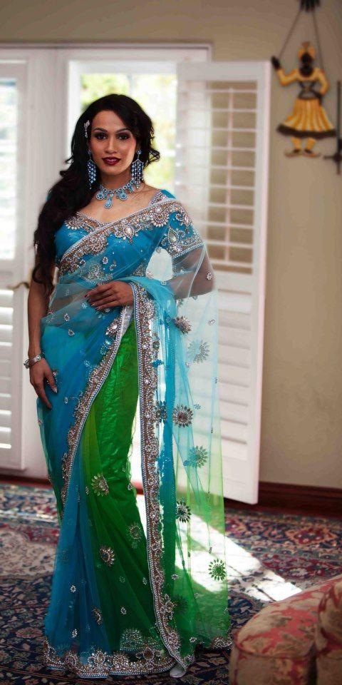 Turquoise Green Sari