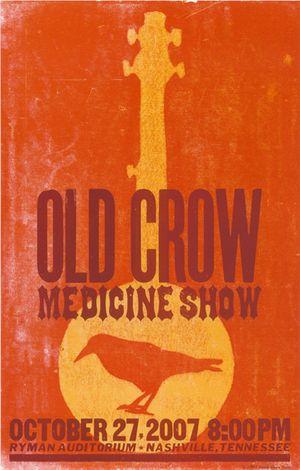 Old Crow Medicine Show, 3-color letterpress show poster, 2007
