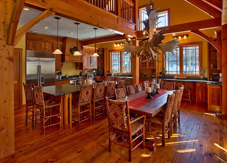 17 best images about cabin interiors on pinterest rustic for Timber frame home interiors
