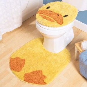Amazing Bath Buddy Kids Rubber Duck Yellow 2pc Bath Rug Set New