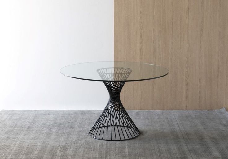 Calligaris - Table de repas ronde pour une salle à manger élégante et raffinée - Plateau transparent en verre - Vortex