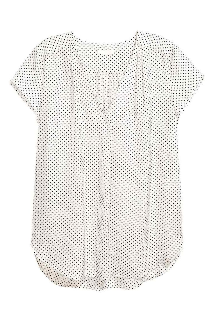 V-neck blouse - White/Spotted - Ladies | H&M GB