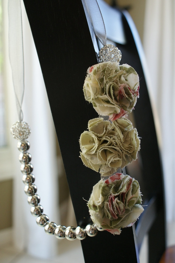 """The """"Chloe"""" Rosette Necklace - Cream, Pink and Green Rosettes with silver beads. $20.00, via Etsy."""