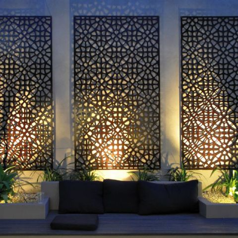 Laser cut screens wa coastal garden ideas pinterest for Large outdoor privacy screen
