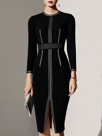 27d7aa9a Crew Neck Bodycon Date Elegant Work Slit Midi Dress | Claire ...