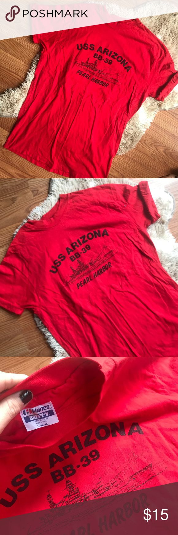 vintage • uss arizona pearl harbor t-shirt RED PEARL HARBOR USS ARIZONA BB-39 MEMORIAL GRAPHIC T-SHIRT • size medium • excellent vintage condition; no holes, stains, cracking or fading • historical  ----- #vintagetee #vintagetshirt #pearlharbor #arizona #memorial #ussarizona #history Vintage Shirts Tees - Short Sleeve