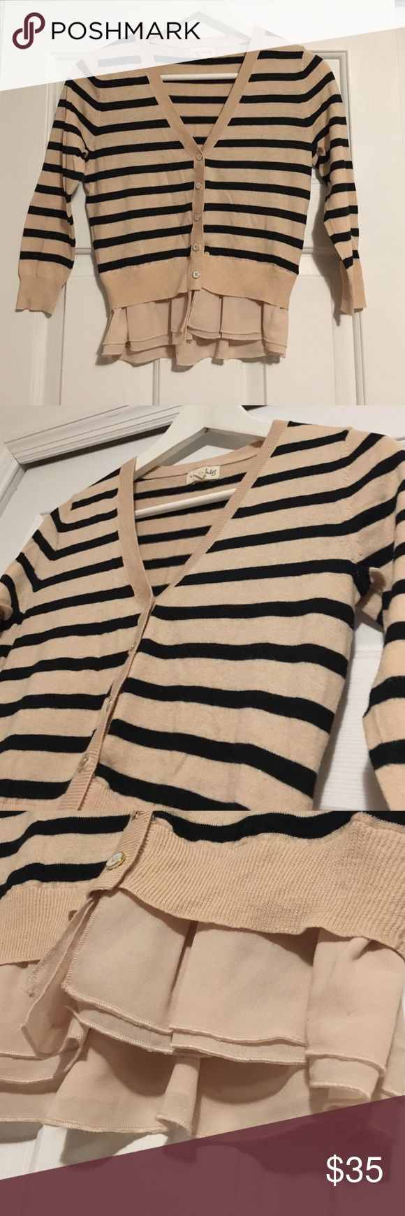 Nude and Navy Stripes Cardigan 3/4 Sleeves Stripes cardigan with detail on the bottom. Worn once. Maison Jules Sweaters Cardigans