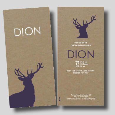 Kaartje op Karton - zeefdruk letterpress geboortekaartje Dion paars