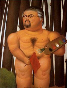 Fernando Botero - Self Portrait with Flag